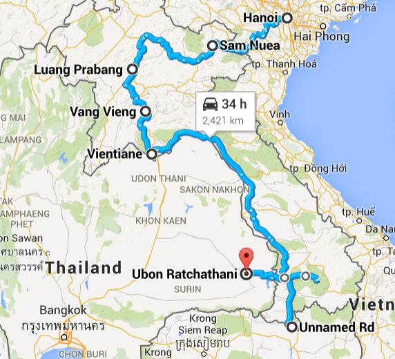 Hanoi, Vietnam to Ubon Ratchathani Thailand - Google Maps - Mozilla Firefox 15042015 164308