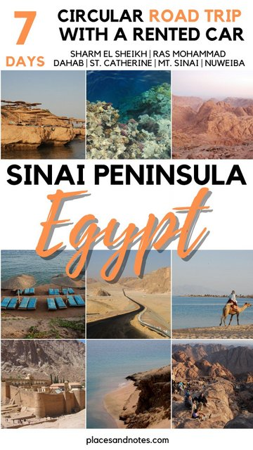 Sinai peninsula Egypt 7 days circular road trip with a rented car
