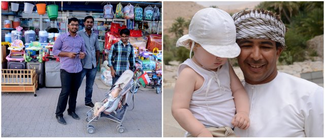 Oman interecring with locals Omani people travelling with kids