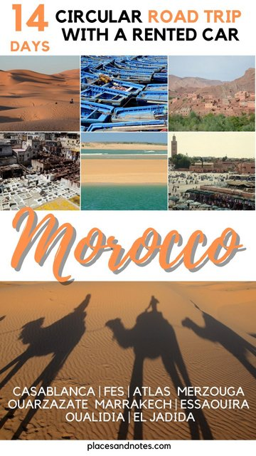 Circuit road trip with a rented car in 14 days around Morocco