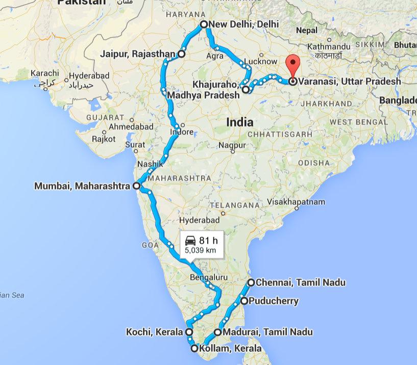 Pondicherry, Puducherry, India to Varanasi, Uttar Pradesh, India - Google Maps - Mozilla Firefox 08052015 080640