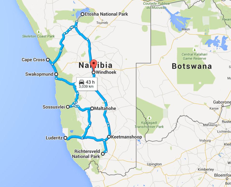 Windhoek, Khomas, Namibia to Windhoek, Khomas, Namibia - Google Maps - Mozilla Firefox 09052015 212041