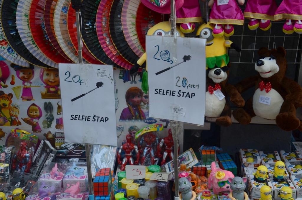 Sarajevo shopping selfie stick