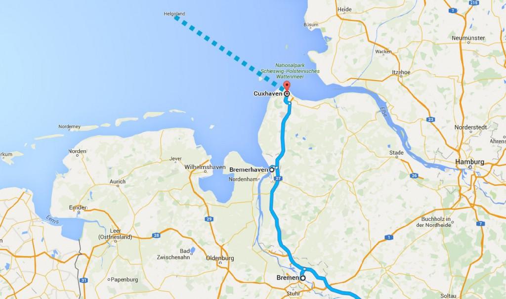 bremen cuxhaven bremerhaven map