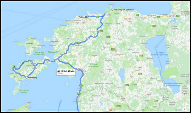 Estonia road trip map