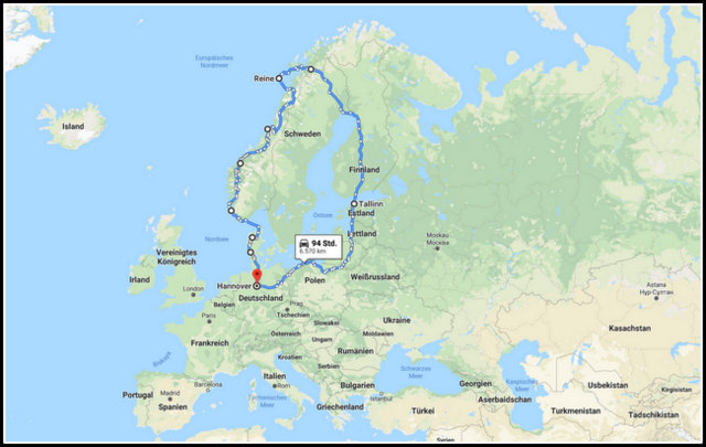 Scandinavian Baltic road trip map