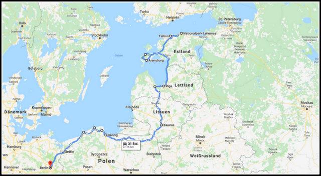 potovanje Baltic countries Baltske drzave zemljevid nacrt poti