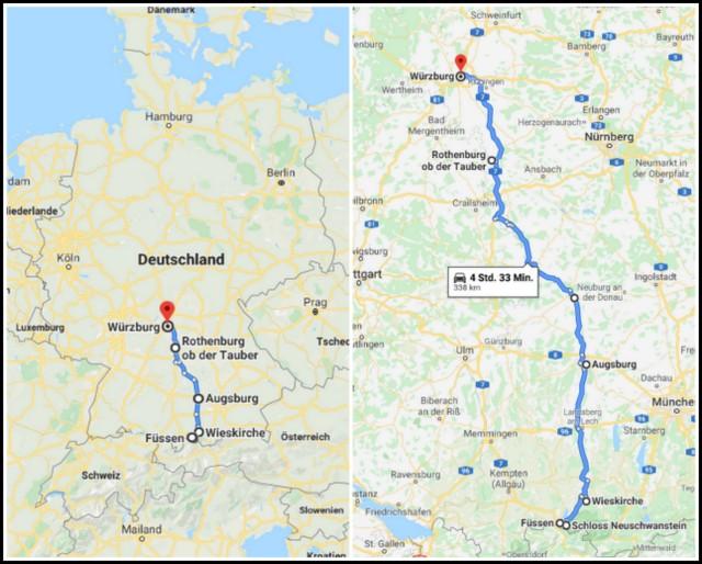 German Romantic Road Nemska romanticna cesta zemljevid