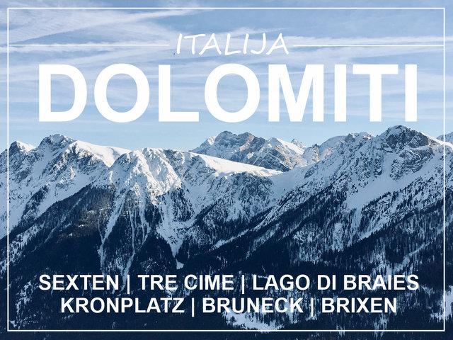 Italija Dolomiti zimsko kampiranje smucanje Sexten Kronplatz Lago di Braies road trip
