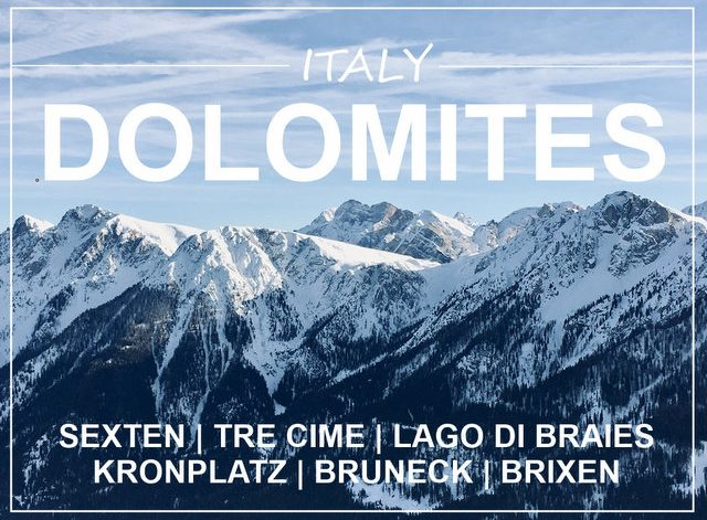 Italy Dolomites winter camping skiing Sexten Kronplatz Lago di Braies road trip