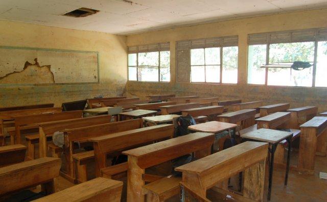 prazna šolska učilnica, Gulu, Uganda