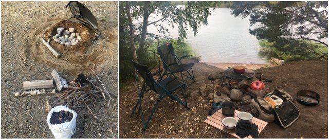 Vanlife camping cooking BBQ žar kampiranje