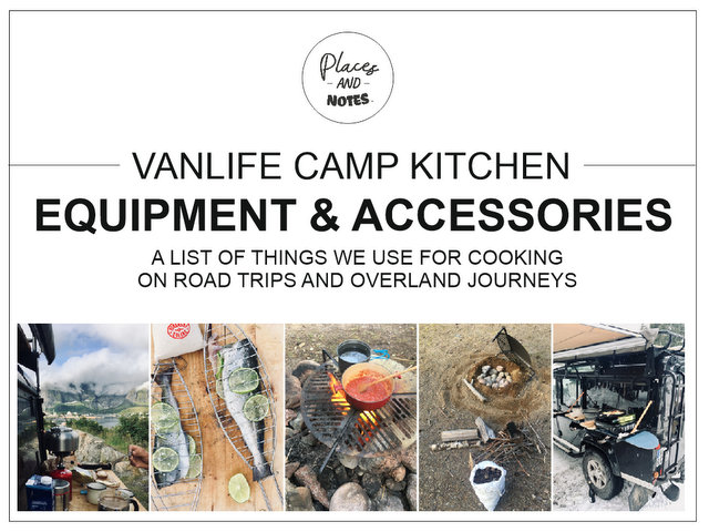 Vanlife camp kitchen equipment and accessories