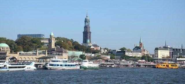 Hamburg city Germany Nemcija from the boat trip