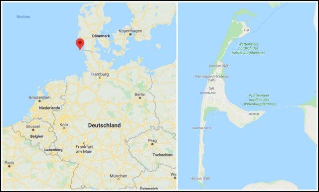 Sylt Germany map how to come to Sylet kako na otok Sylt Nemcija