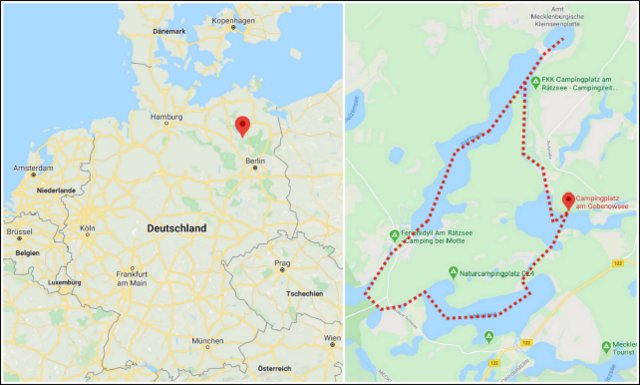 kayaking map Mecklenburgische Seenplatte Germany Nemcija kajakiranje zemljevid jezera