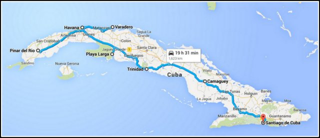 Havana to Santiago Cuba map road trip with a rented car itinerary Kuba potovanje nacrt poti