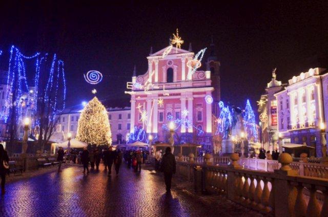 Ljubljana Slovenia Christmas market decorations winter bozicne trznice