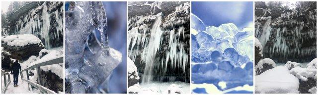 Zamrznjeni zaledeneli slapovi Slovenija zima winter Slovenia frozen waterfalls