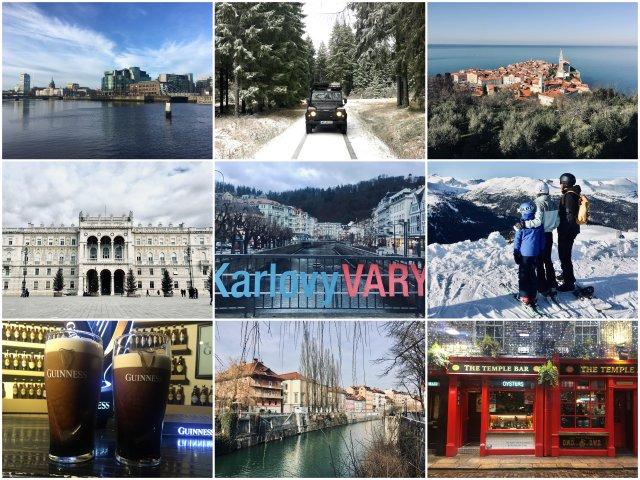 Ljubljana, Piran, Trst, Kranjska Gora, Avstrija, Dublin in Karlovy Vary